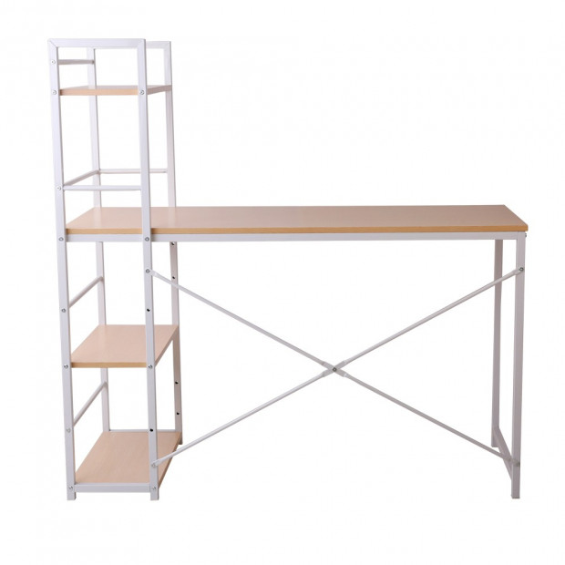 Artiss Metal Desk with Shelves - White with Oak Top Image 4