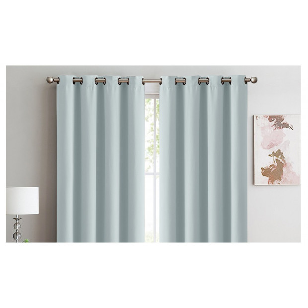 2x 100% Blockout Curtains Panels 3 Layers Eyelet Green 140x230cm