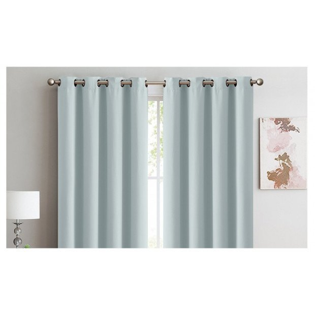 Blockout Curtains Panels 3 Layers Eyelet Mineral Green
