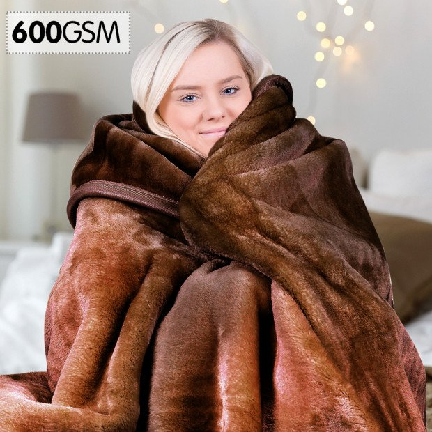 600GSM Double-Sided Chocolate Queen Size Faux Mink Blanket