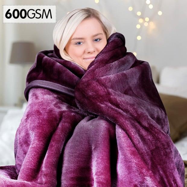 600GSM Double-Sided Purple Queen Size Faux Mink Blanket