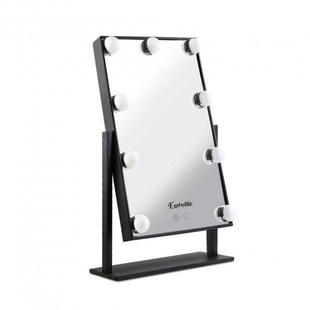 Standing Makeup Mirror with LED Lights - Black