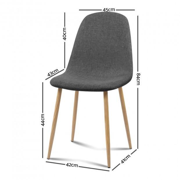 4x Adamas Fabric Dining Chairs - Dark Grey Image 1