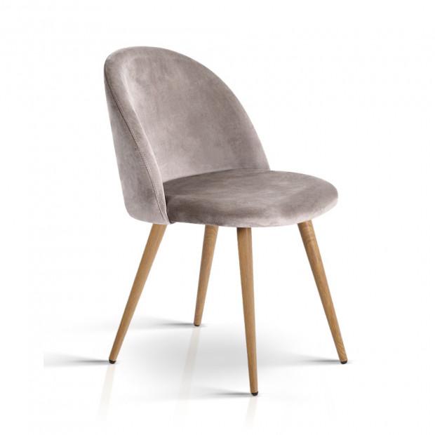 Set of Two Velvet Modern Dining Chair - Light Grey