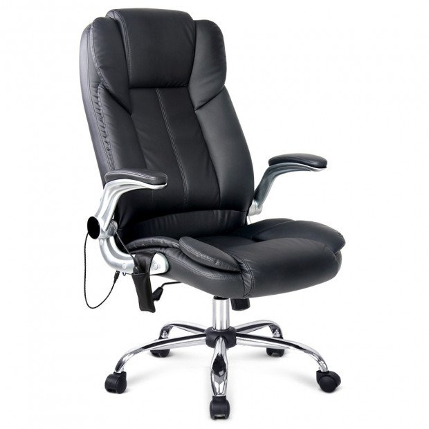 8 Point PU Leather Massage Chair - Black Image 1
