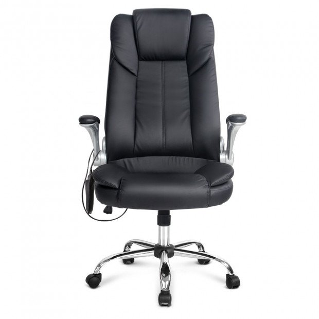 8 Point PU Leather Massage Chair - Black Image 3