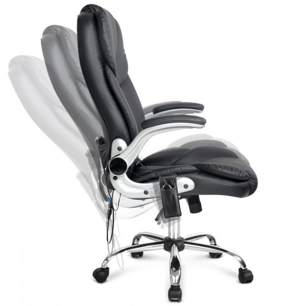 8 Point PU Leather Massage Chair - Black Image 4