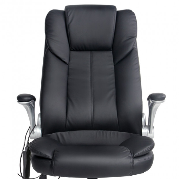 8 Point PU Leather Massage Chair - Black Image 5