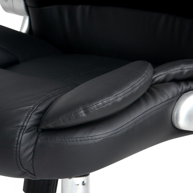 8 Point PU Leather Massage Chair - Black Image 7