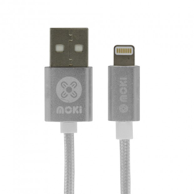 Moki King Size Braided Lightning Sync Charge Cable-3m/10ft Silver