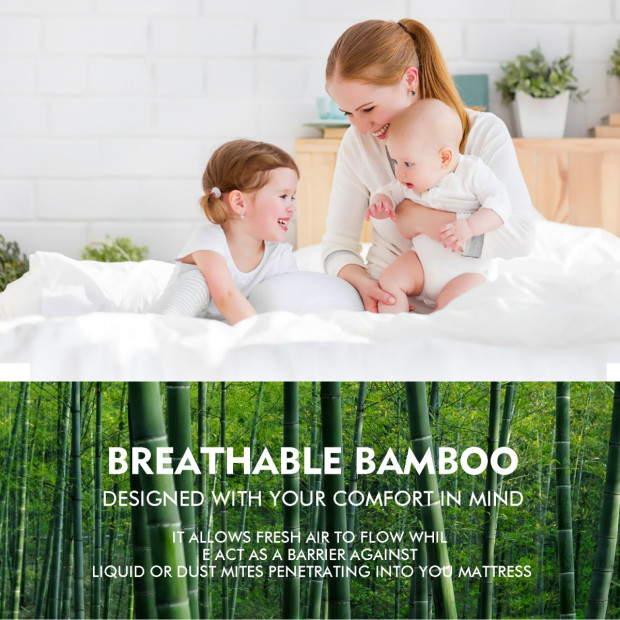 Waterproof Bamboo Fully Fitted Mattress Protector Super King Image 2