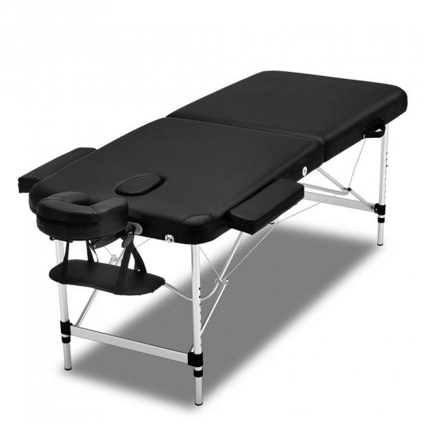 Zenses 3 Fold Portable Aluminium Massage Table Bed Therapy Black 55cm