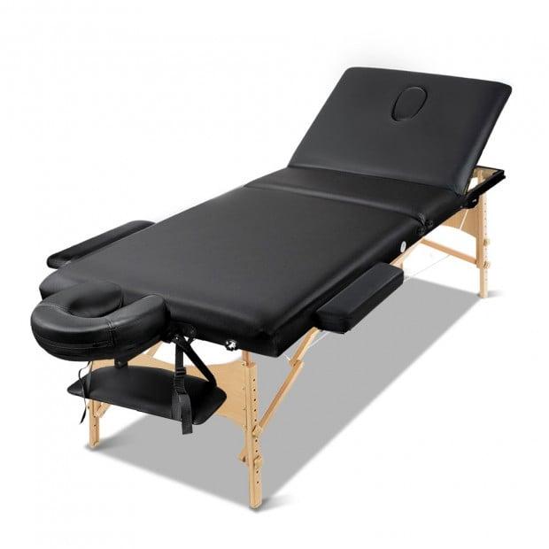 Zenses 60cm Portable Wooden Massage Table 3 Fold Treatment Black
