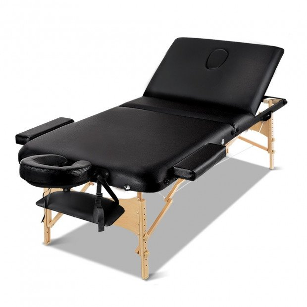 Zenses 75cm Portable Wooden Massage Table 3 Fold Treatment Black