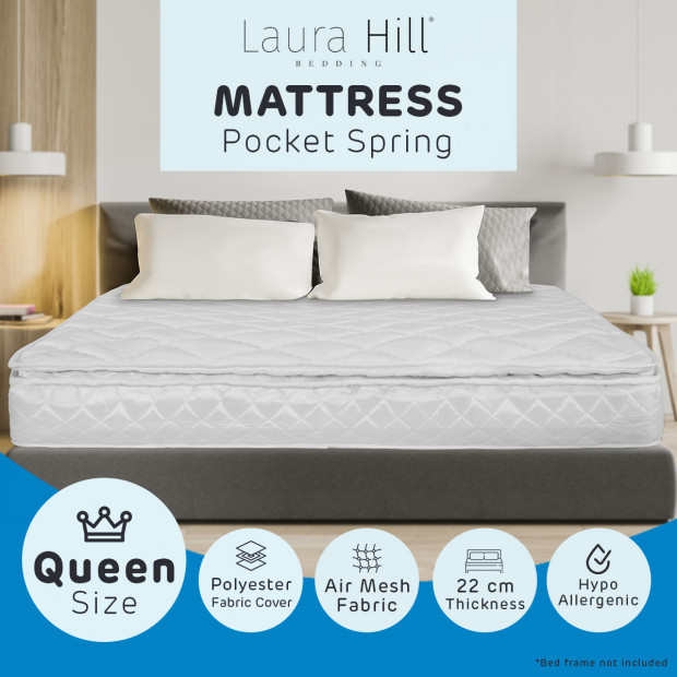 Pillow Top Pocket Spring Queen Mattress - 22cm