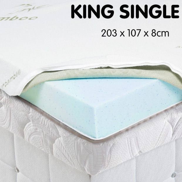 Cool GEL Memory Foam Mattress Topper - King Single
