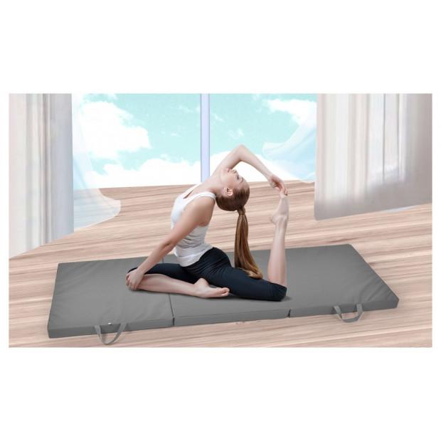 Folding Exercise Floor Mat Dance Yoga Gymnastics Grey