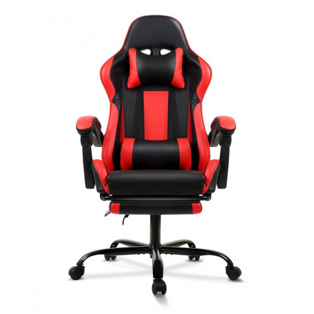 Gaming Office Chair Computer Seating Racer Black and Red Image 2