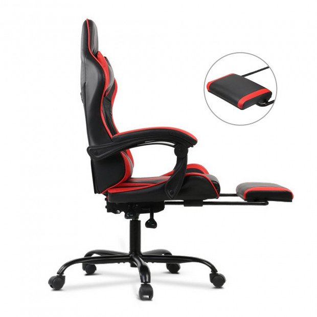 Gaming Office Chair Computer Seating Racer Black and Red Image 3
