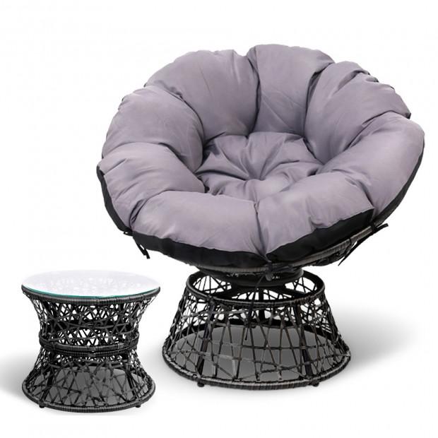 Gardeon Papasan Chair and Side Table - Black Image 2