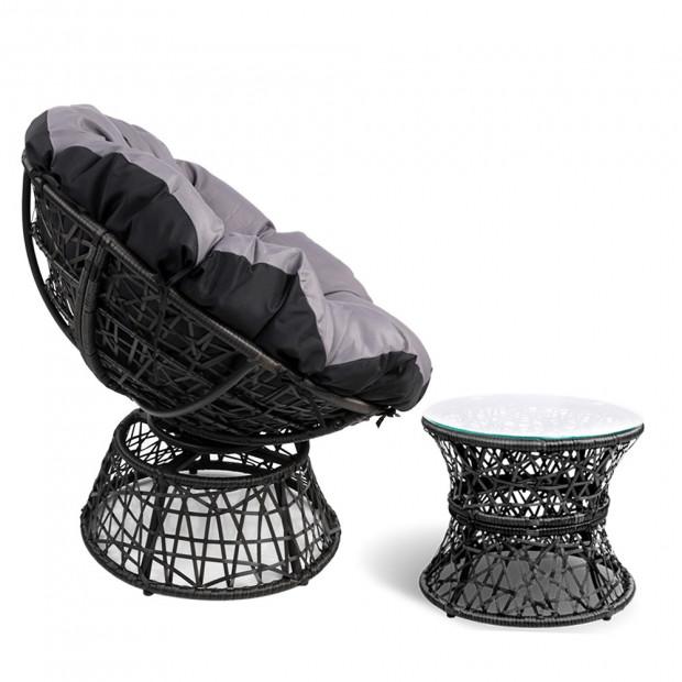 Gardeon Papasan Chair and Side Table - Black Image 3