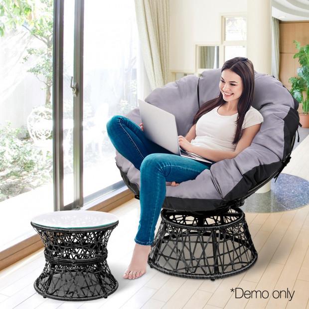 Gardeon Papasan Chair and Side Table - Black Image 7