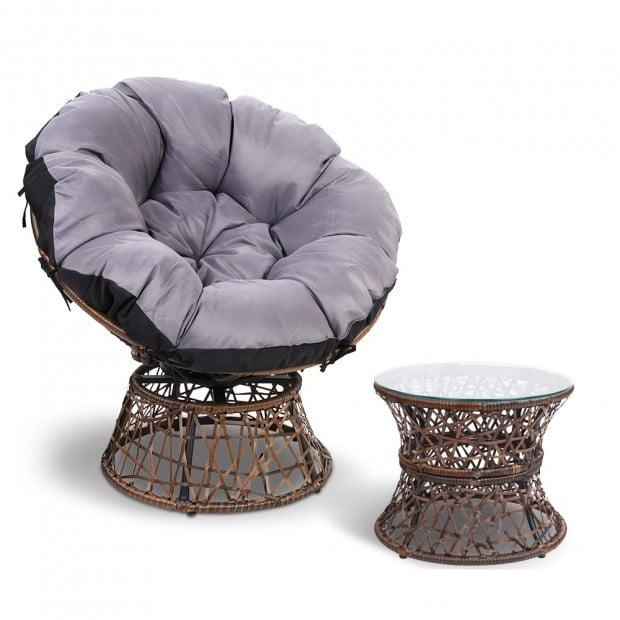 Gardeon Papasan Chair and Side Table - Brown