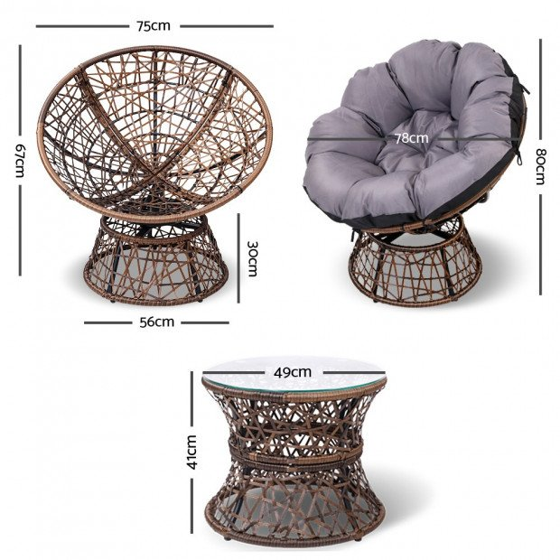 Garden Papasan Chair with Side Table Set - Brown Image 1