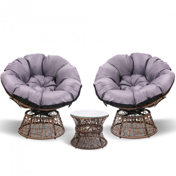 Garden Papasan Chair with Side Table Set - Brown Image 2