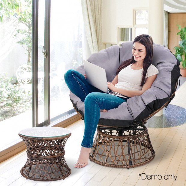 Garden Papasan Chair with Side Table Set - Brown Image 7