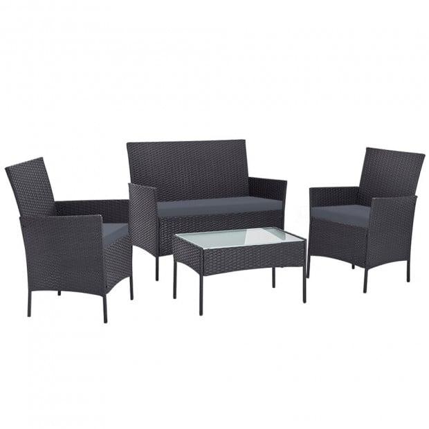 Outdoor Furniture Rattan Set Chair Table Dark Grey 4pc