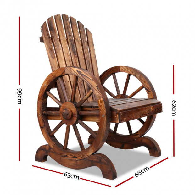 Rustic Style Wooden Wagon Chair Outdoor Image 1