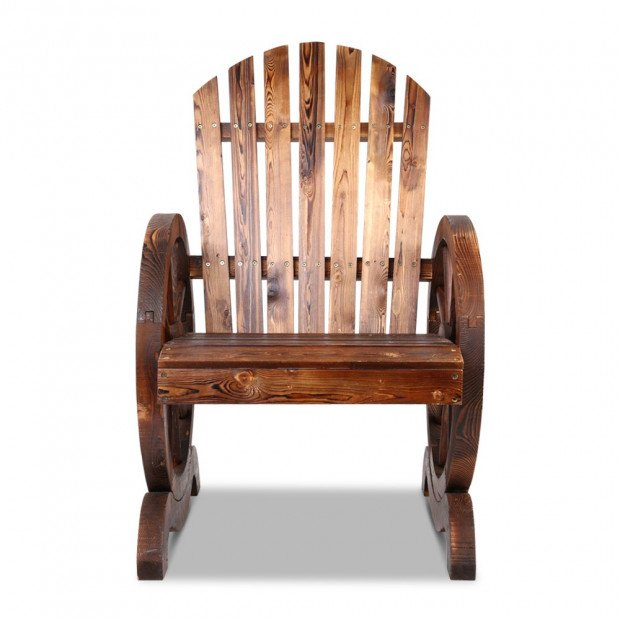 Rustic Style Wooden Wagon Chair Outdoor Image 2