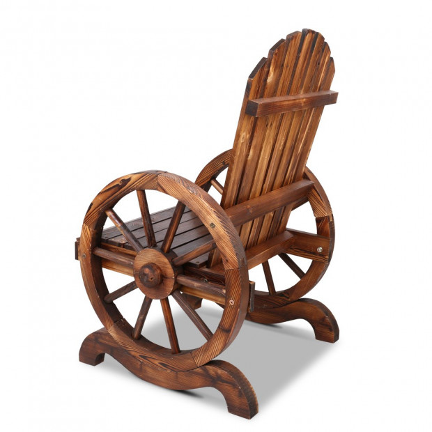 Rustic Style Wooden Wagon Chair Outdoor Image 4