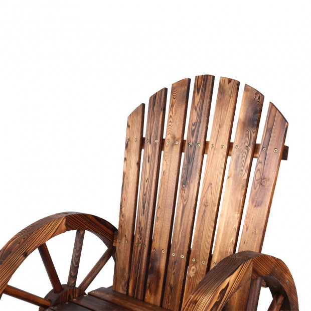 Rustic Style Wooden Wagon Chair Outdoor Image 5