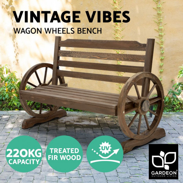 Park Bench Wooden Wagon Chair Outdoor Garden Backyard Lounge Furniture Image 4
