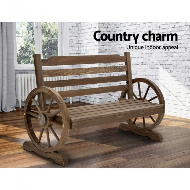 Park Bench Wooden Wagon Chair Outdoor Garden Backyard Lounge Furniture Image 6