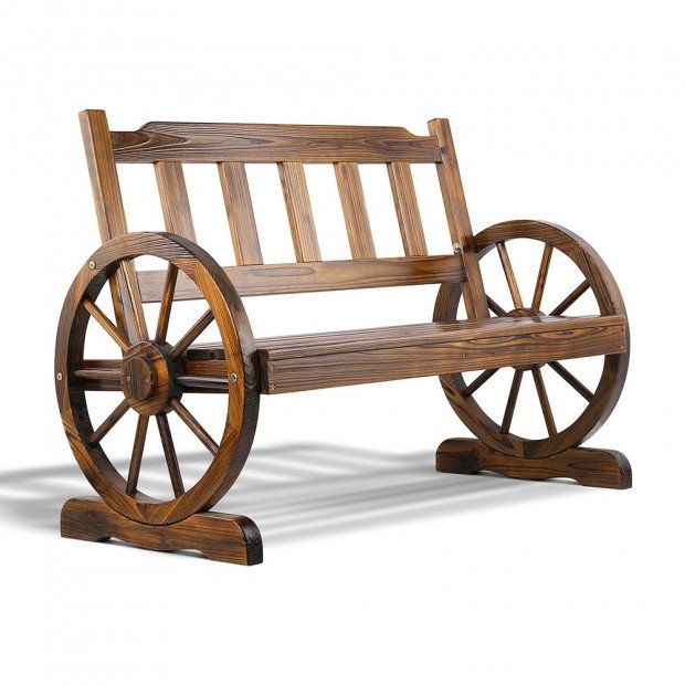 Outdoor Rustic Wooden Wagon Wheel Chair