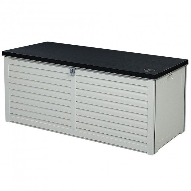 Outdoor Storage Box Bench Seat Toy Tool Sheds 390L Grey/Black