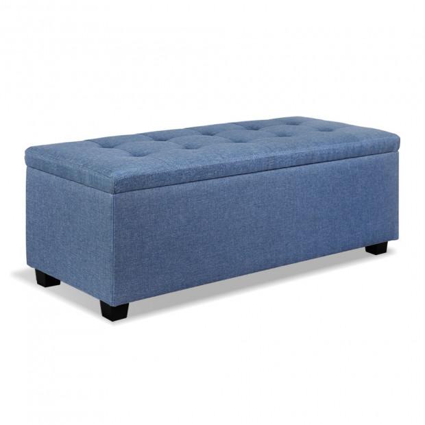 Premium Storage Ottoman Faux Linen - Blue
