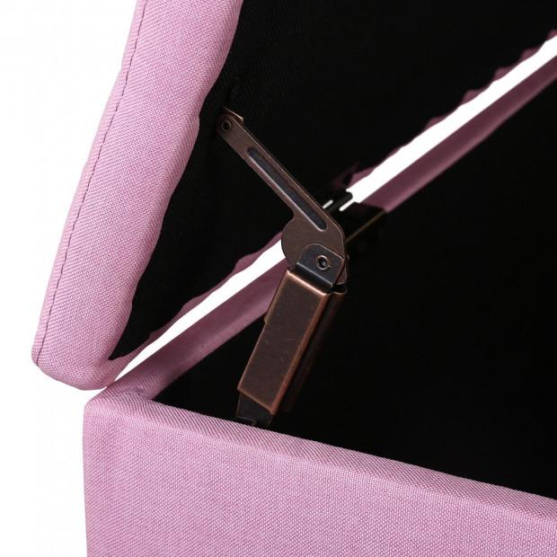 Premium Storage Ottoman Faux Linen - Pink Image 4