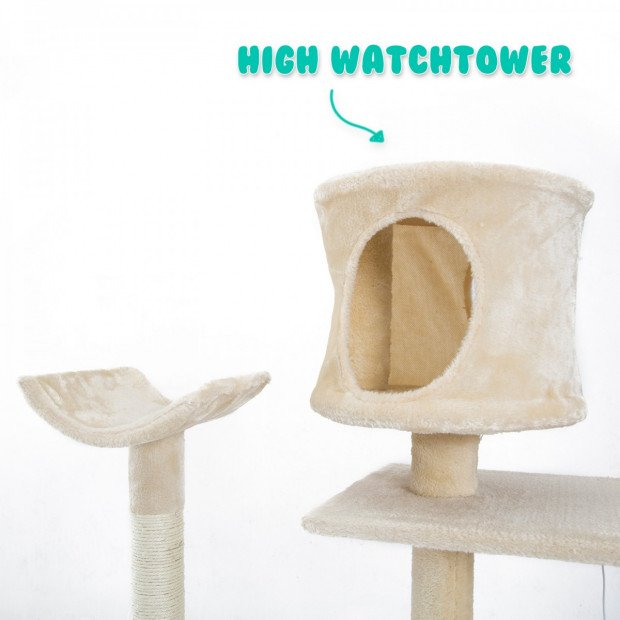 Cat Tree Scratcher DANIE 177 cm - BEIGE Image 4