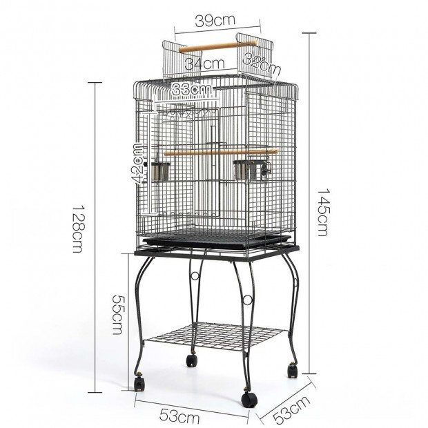 i.Pet Large Bird Cage with Perch - Black Image 1