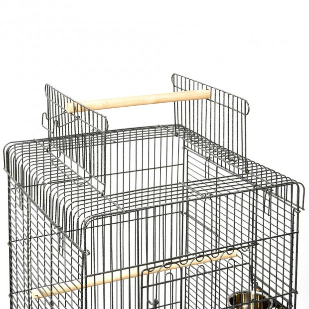 i.Pet Large Bird Cage with Perch - Black Image 4