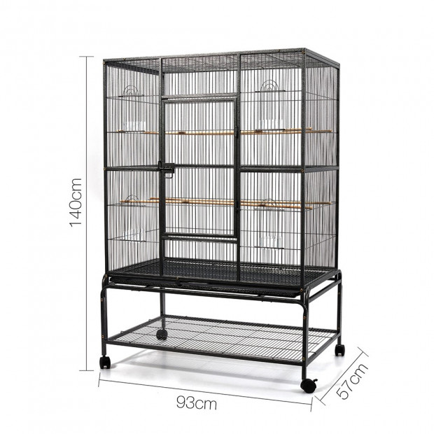 Large Bird Cage with Perch - Black Image 2