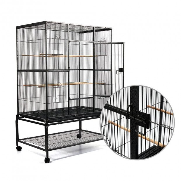 Large Bird Cage with Perch - Black Image 3