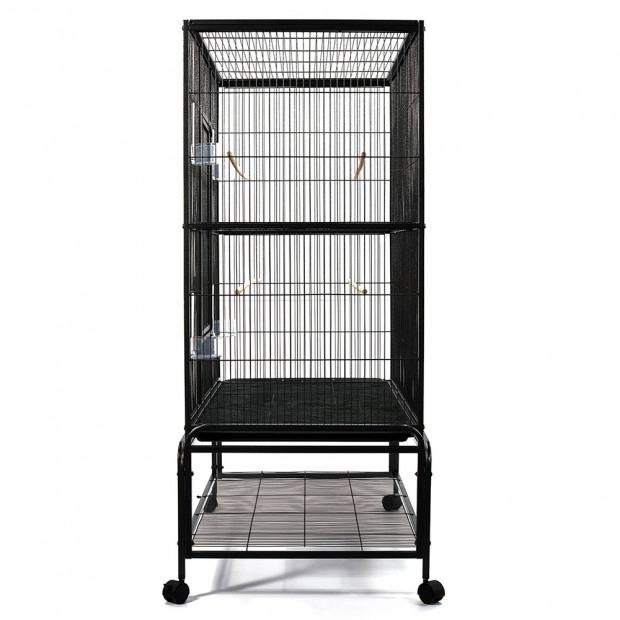 Large Bird Cage with Perch - Black Image 4