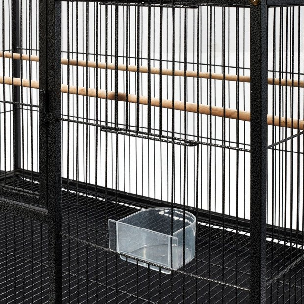 Large Bird Cage with Perch - Black Image 5