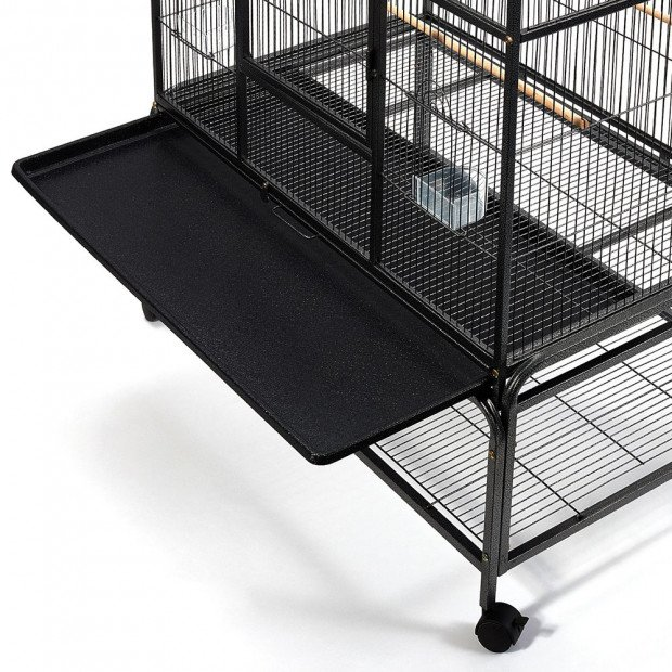 Large Bird Cage with Perch - Black Image 7