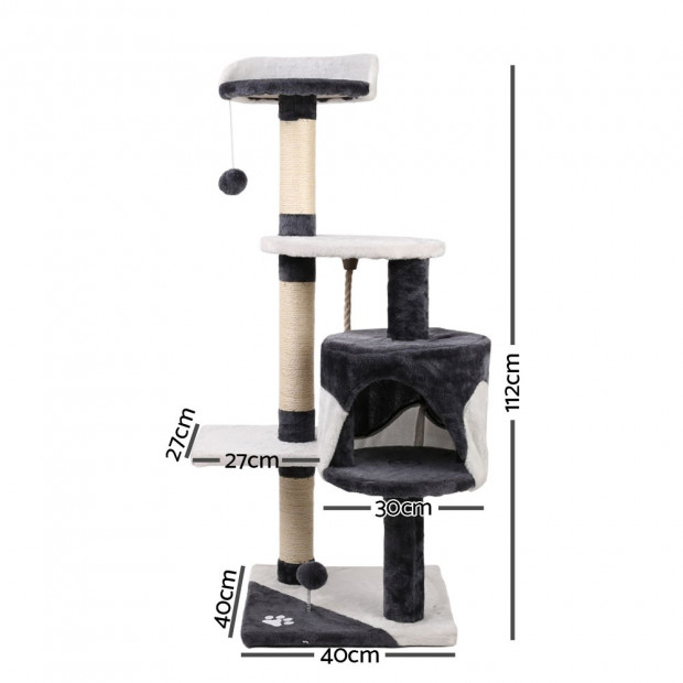 112cm Cat Scratcher Pole - White and Grey Image 2